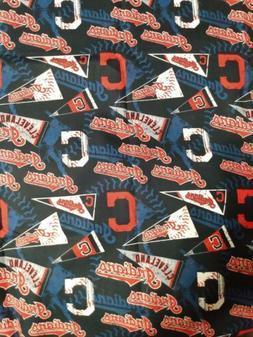 "Cleveland Indians 1/4 Yard, 9""x 58""  MLB Cotton Baseball Fab"
