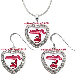 Cleveland Indians 925 Necklace / Earrings or Set Team Heart