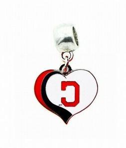 CLEVELAND INDIANS BASEBALL HEART CHARM SLIDER PENDANT NECKLA