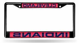 Cleveland Indians BLACK LASER FRAME Chrome Metal License Pla
