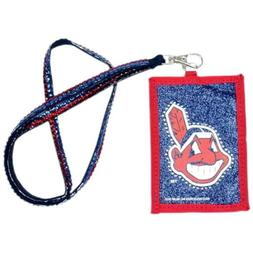CLEVELAND INDIANS BLING LANYARD W/ ID WALLET KEYCHAIN BADGE