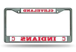 Cleveland Indians BOLD Des Metal Chrome License Plate Tag Fr