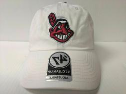 Cleveland Indians 47 Brand Cap White Clean Up Adjustable Str
