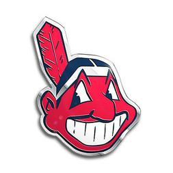 Cleveland Indians CE3 Raised Metal Die Cut Color Chrome Auto