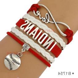 Cleveland Indians Leather Baseball Bracelet Charm Quality Fa