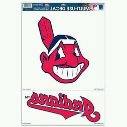 """CLEVELAND INDIANS CHIEF WAHOO 2 PIECE MULTI-USE DECALS 11""""X1"""
