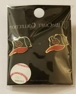 CLEVELAND INDIANS CHIEF WAHOO LOGO BALL CAP STUD EARRINGS NE