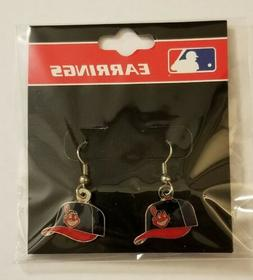 CLEVELAND INDIANS CHIEF WAHOO LOGO BALL CAP DANGLE EARRINGS