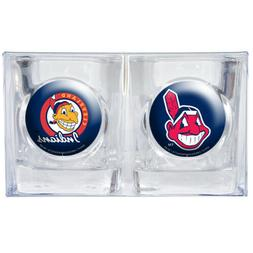 CLEVELAND INDIANS CHIEF WAHOO SQUARE SHOT GLASS 2 PACK GIFT