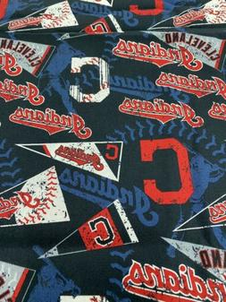 """Cleveland Indians Cotton Fabric 1/4 Yard Wide 9"""" x 58"""""""