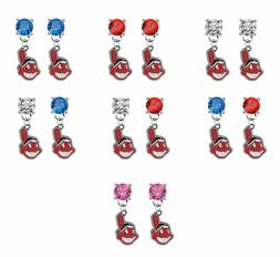 Cleveland Indians Crystal Earrings Stud Post Dangle - Mix &
