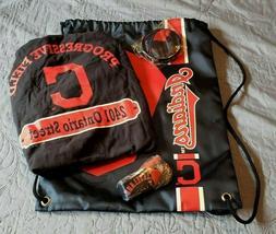Cleveland Indians drawstring bag, frisbee, 2 lanyard pens, s
