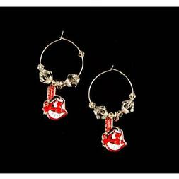 CLEVELAND INDIANS DANGLE EARRINGS CLEAR BEAD HOOP W/ CHIEF W