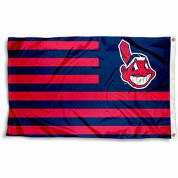 CLEVELAND INDIANS FLAG 3'X5' MLB STRIPED BANNER: FAST FREE S