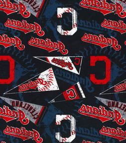 CLEVELAND INDIANS MLB BASEBALL VINTAGE PRINT 100% COTTON FAB