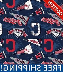 Cleveland Indians MLB Cotton Fabric - Style# 14415 - Free Sh