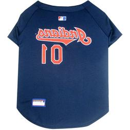 Cleveland Indians MLB Pets First Licensed Dog Jersey, Navy S