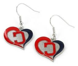 Cleveland Indians MLB Silver Swirl Heart Dangle Earrings Ami