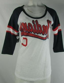 Cleveland Indians MLB New Era Women's White 3/4 Sleeve Shirt