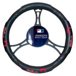 Cleveland Indians Premium Rubber Grip Black Steering Wheel C