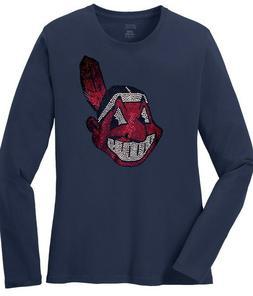 Cleveland Indians Wahoo Ladies Rhinestone Bling Long Sleeve