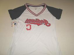 Cleveland Indians White Blue Red Mesh T-Shirt New! NWT Women