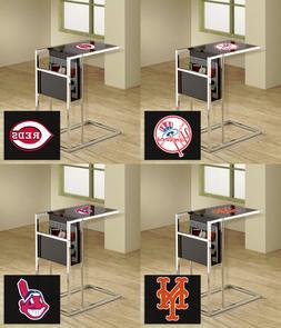 MLB TV Tray Magazine Rack Black Glass Shelf Chrome Baseball
