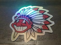Holographic Chief Wahoo STICKER - Cleveland Indians Headdres