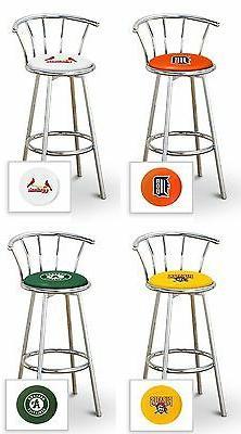 """MLB Bar Stool 24"""" Tall Chrome Swivel Seat Backrest Colored V"""