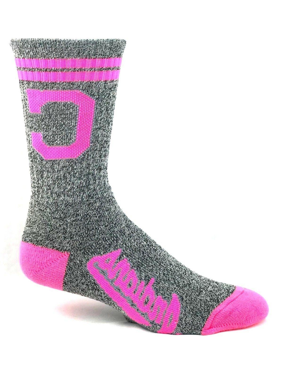cleveland indians baseball marbled crew socks pink