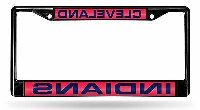 cleveland indians black laser frame chrome metal