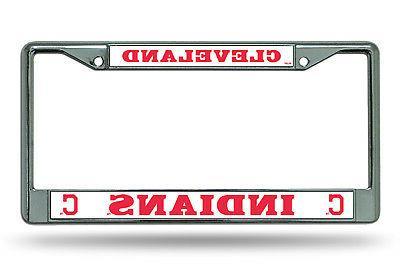 cleveland indians bold des metal chrome license