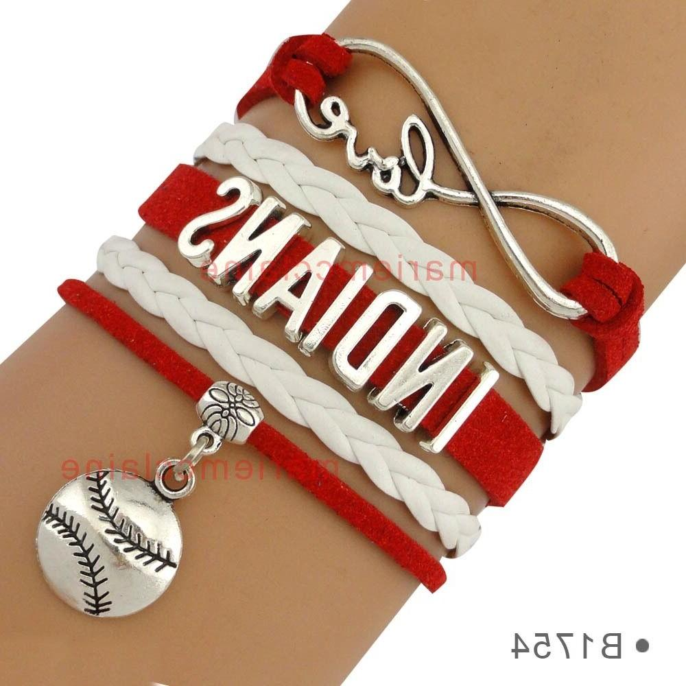 cleveland indians leather baseball bracelet charm quality