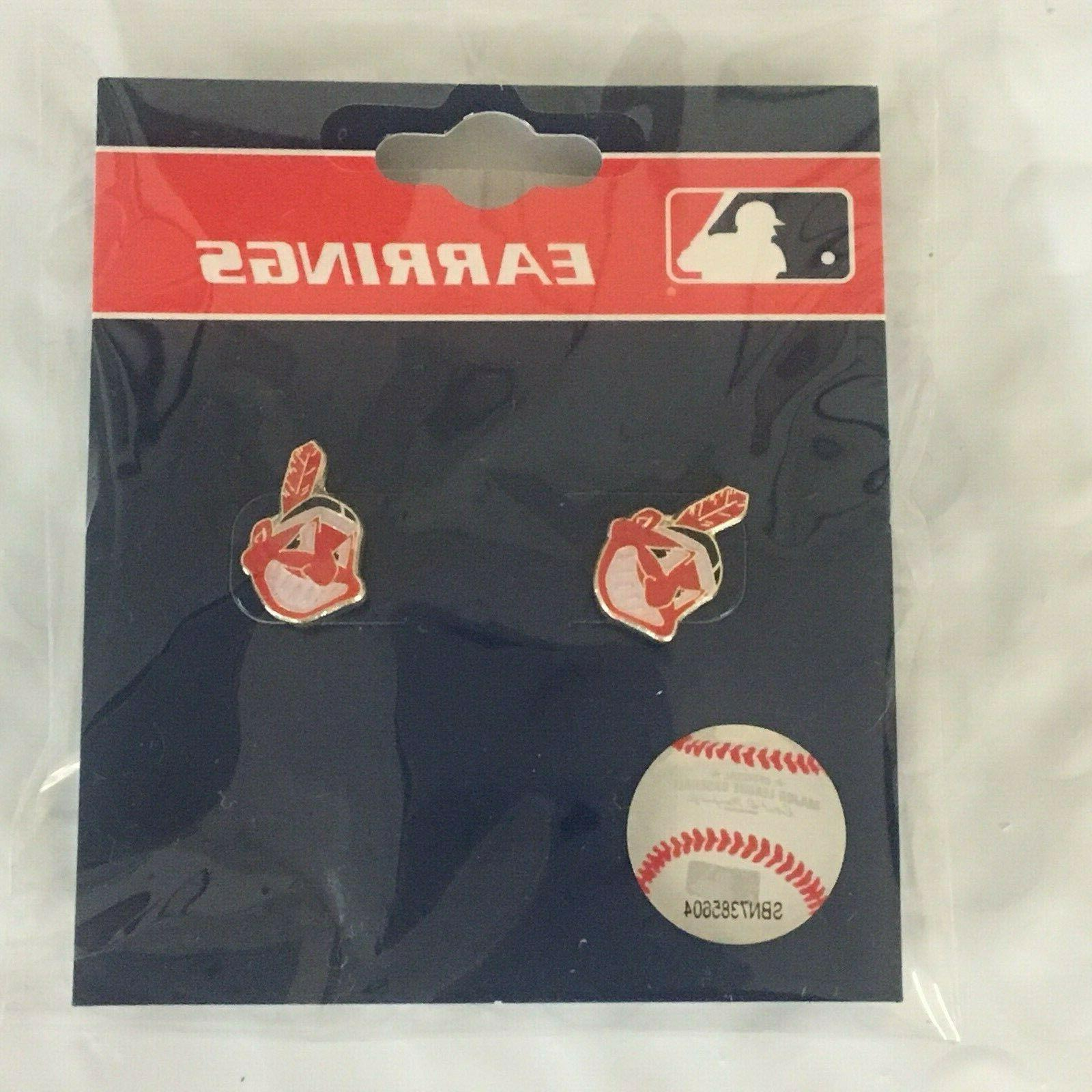 cleveland indians chief wahoo logo stud earrings