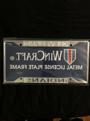 cleveland indians chrome frame metal license plate