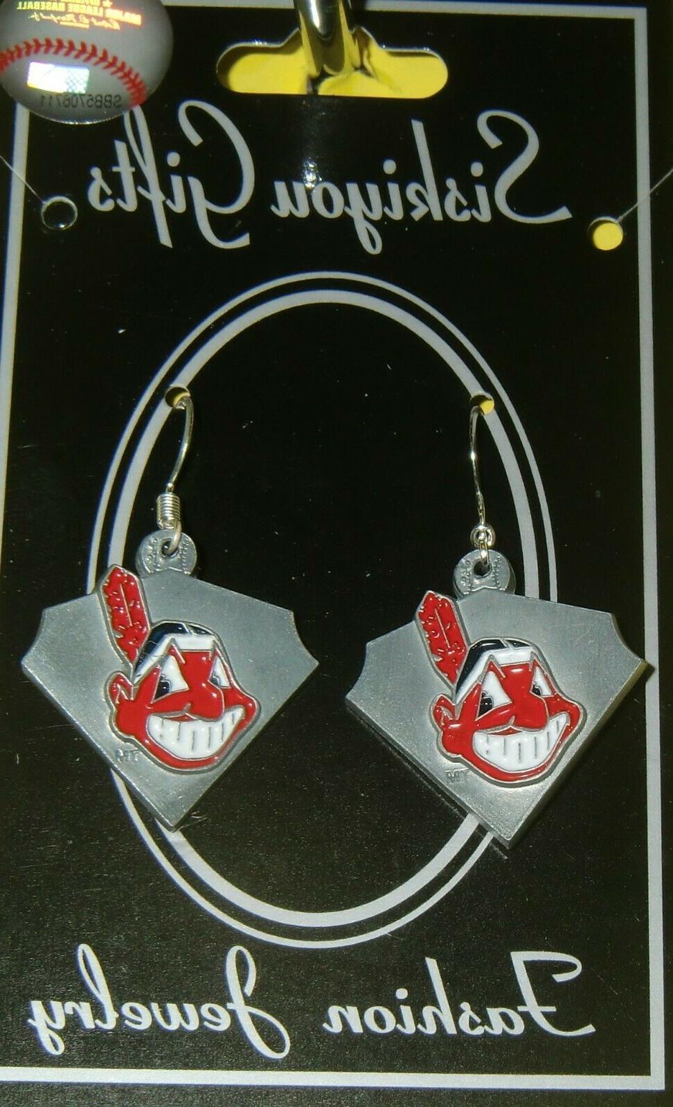 cleveland indians dangle earrings licensed mlb baseball