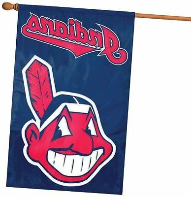 cleveland indians deluxe 2 sided 28x44 embroidered