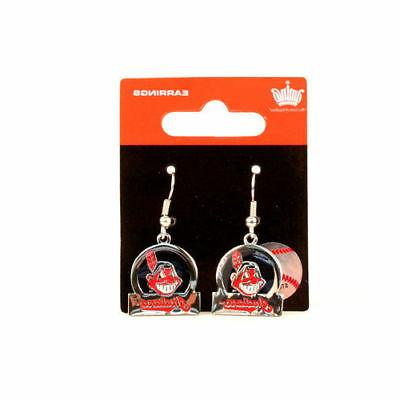 CLEVELAND INDIANS EARRINGS CHIEF WAHOO LOGO CIRCLE-BAR STYLE