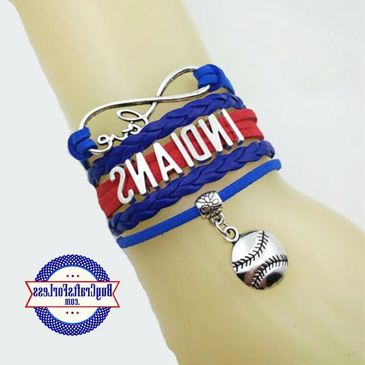 cleveland indians leather woven bracelet free shipping