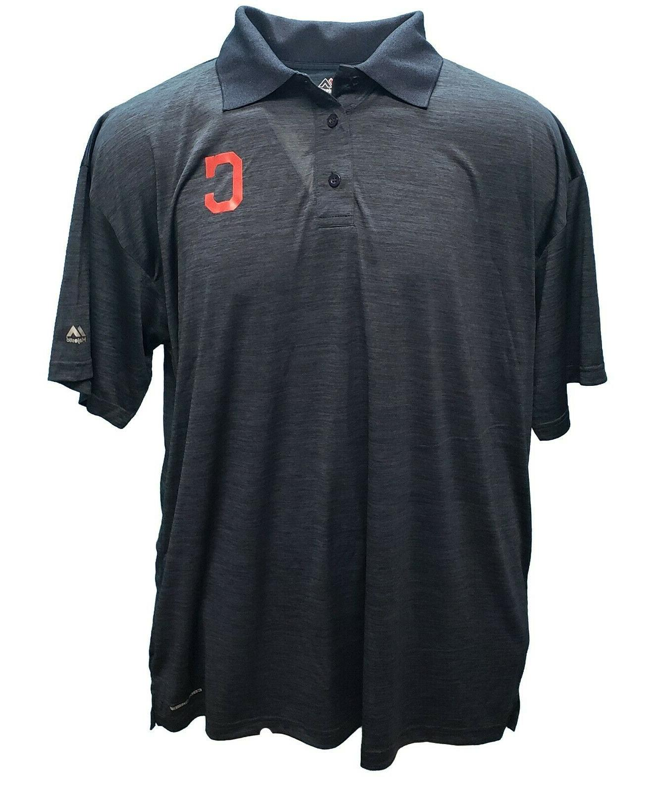 Cleveland Majestic Blue Coolbase Polo Team Big & Tall