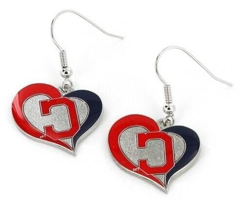 cleveland indians mlb silver swirl heart dangle