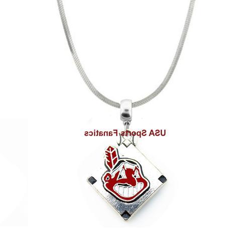 cleveland indians team logo pendant necklace