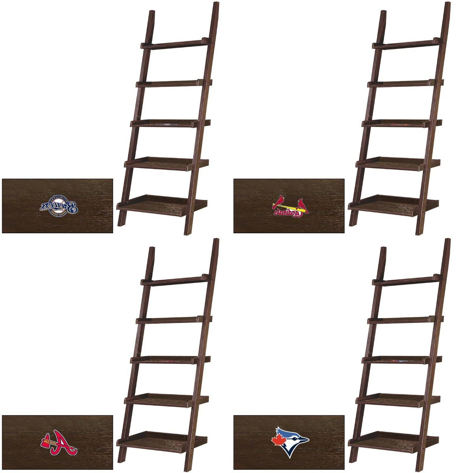 mlb cappuccino finish leaning ladder bookcase featuring