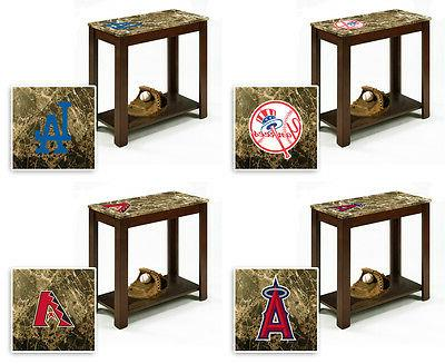 mlb wood end table nightstand faux marble