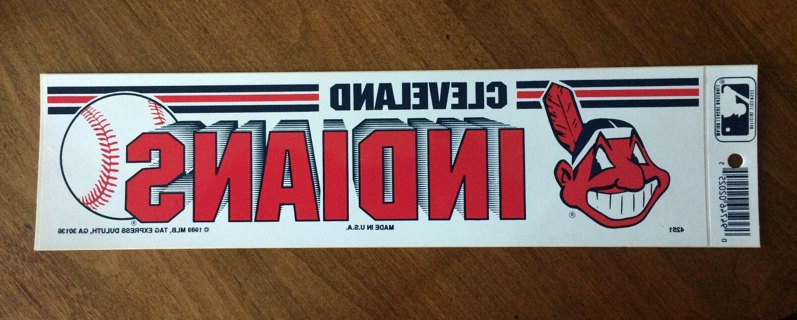 vintage cleveland indians 1989 bumper sticker nos