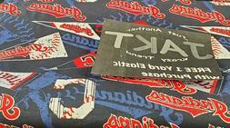 "MLB Cleveland Indians Cotton Fabric 9""x58"" free yard of elas"