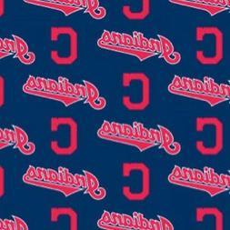 MLB CLEVELAND INDIANS COTTON FABRIC MATERIAL, Fabric Sold By