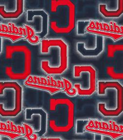 MLB CLEVELAND INDIANS - DOT Baseball 100% Cotton Fabric 1/4