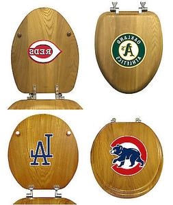 MLB TEAM LOGO OAK FINISH WOOD ROUND OR ELONGATED TOILET SEAT