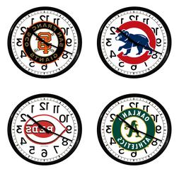 "MLB Team Logo Wall Clock 11"" Round Black Plastic Finish Man"